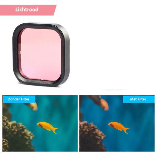 Gopro hero 8 duikfilter lichtrood